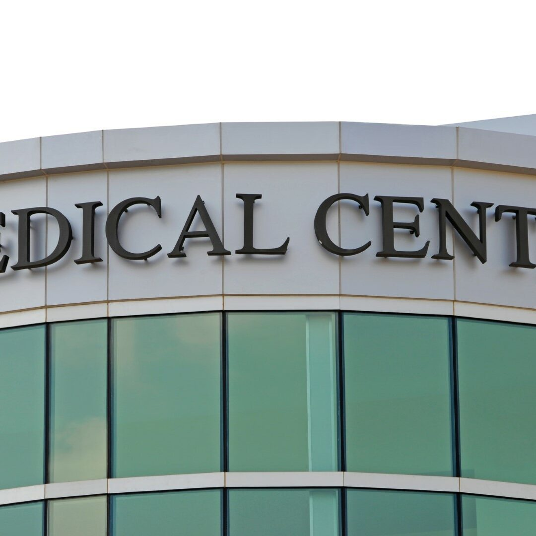 Medical Center Sign over New Hospital Entrance